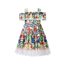 Bongawan Girls Dresses Bohemian Style Cotton 3-8 Years Children clothing Flower Dress for Birthday Party and Wedding