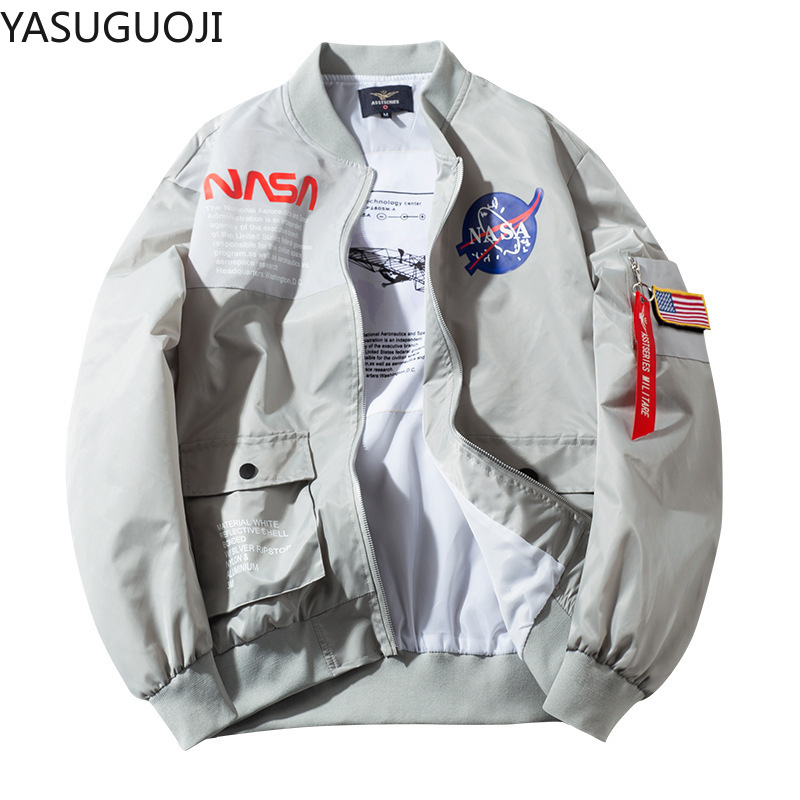 YASUGUOJI Spring SPACE SHUTTLE MISSION Thin MA1 Bomber Jacket Men Hip Hop US Air Force Pilot Flight Korean College Mens Jacket