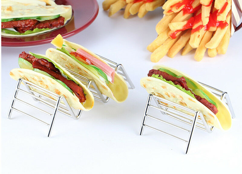 Stainless Steel Taco Holders Rack Mexican Food Hard Stand Holds Soft Shells Wave Shape Kitchen Tool Restaurant Pie Tools image