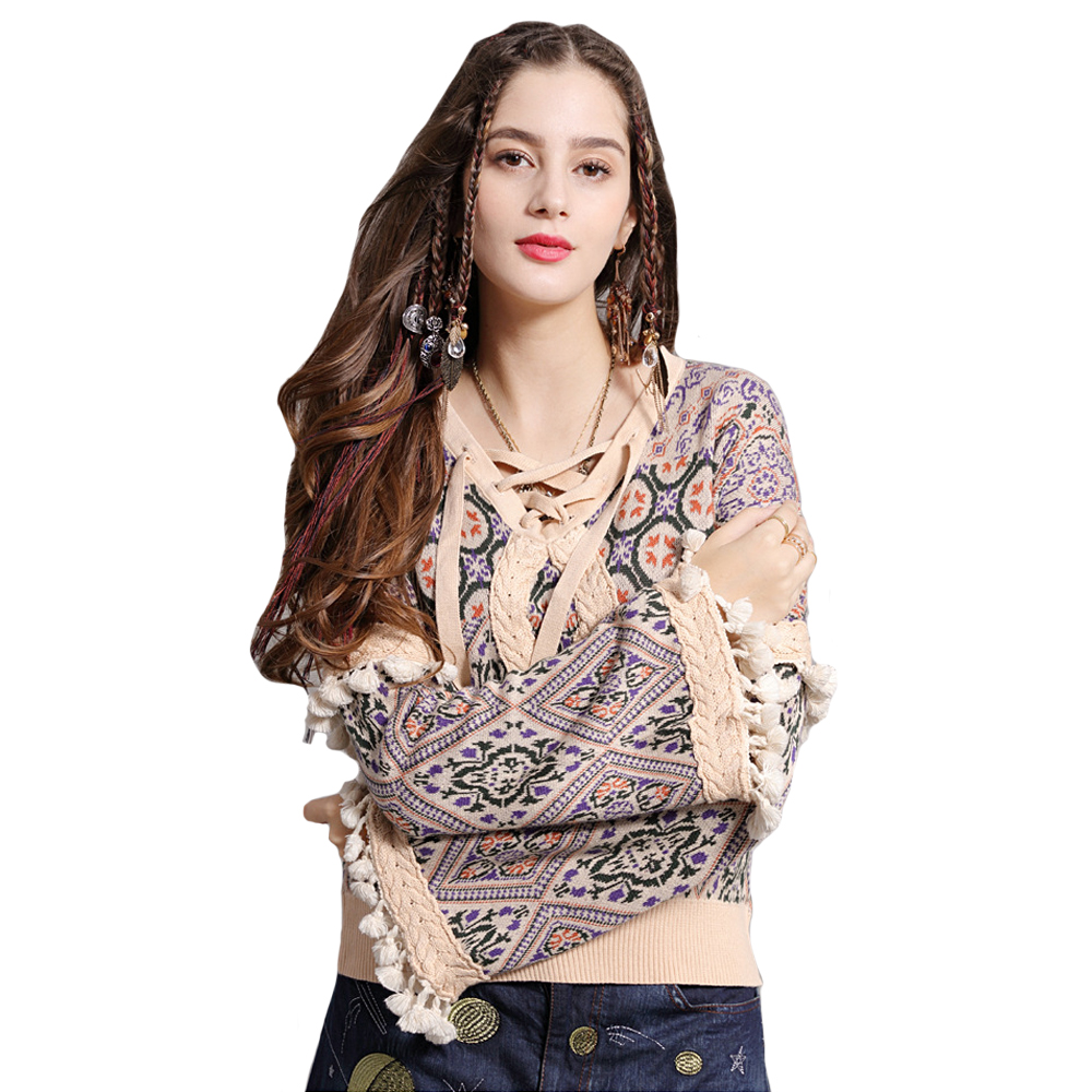 Flare Long Sleeve Sweater Pullover Women Boho Sweaters Autumn Winter Warm Aweater Chic Tassel Gypsy Ethnic V-Neck Knit Sweaters