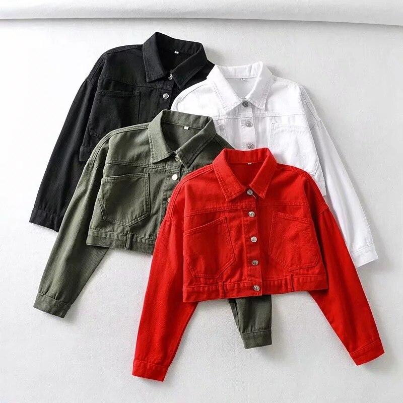 Women Spring Autumn Casual Crop Top Solid Coat Short Denim Jacket