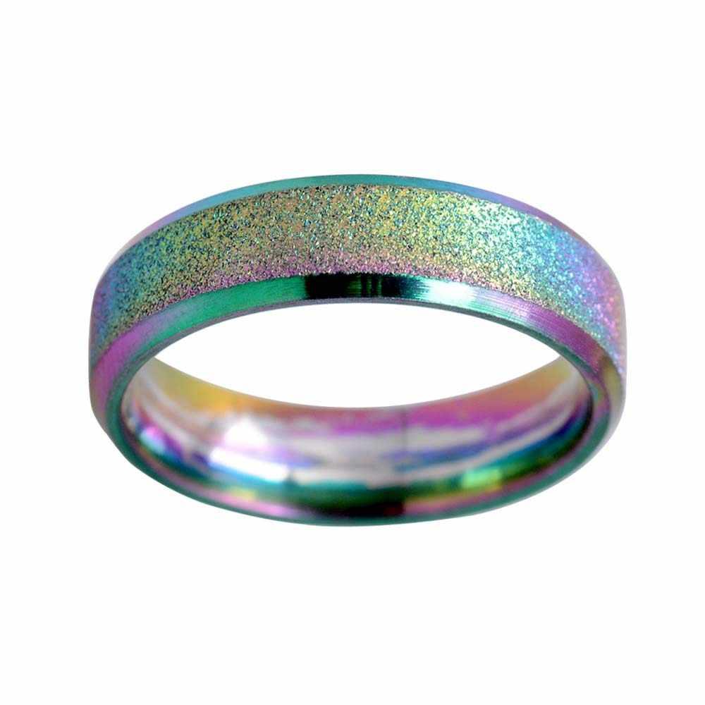 Moda Scrub Arco Iris Color arenado anillo hombres Simple acero inoxidable mujeres anillos de boda
