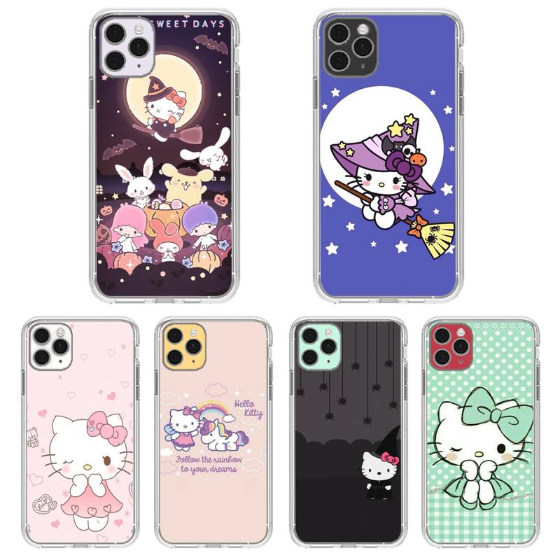 Cute Cartoon Hellos Kitties Phone Case Transparent For Iphone 11 12 Pro Max Xr X Mini 7 8 PLUS Coque Cover|Phone Case & Covers| - AliExpress