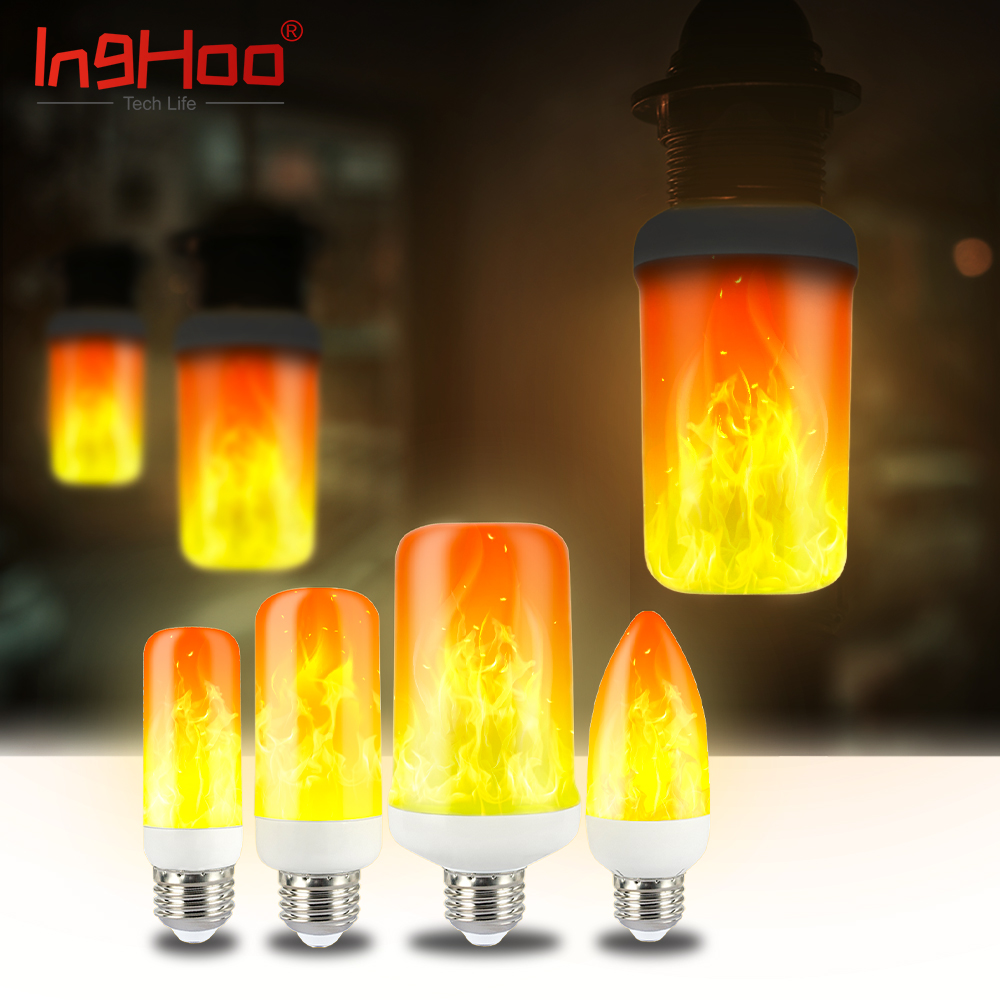 IngHoo realistic flame light bulb dynamic flame effect flashing light bulb kitchen bedroom lighting party party atmosphere light 2