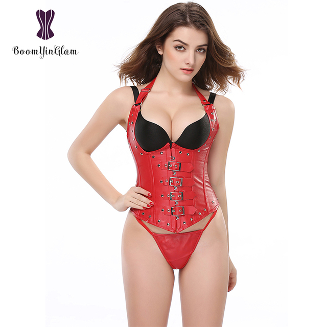 Plus Size Halter Neck Sexy Womens Faux Leather Steampunk Buckle Corset Vest Shapewear With G String 828#