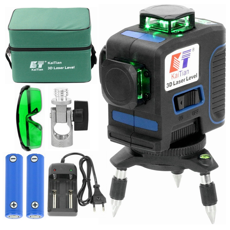 KaiTian CE Certificated Green <font><b>3D</b></font> <font><b>12</b></font> <font><b>Lines</b></font> <font><b>Laser</b></font> <font><b>Level</b></font> with Li-ion battery Horizontal &Vertical <font><b>Lines</b></font> Work Separately <font><b>Laser</b></font> <font><b>Lines</b></font> image