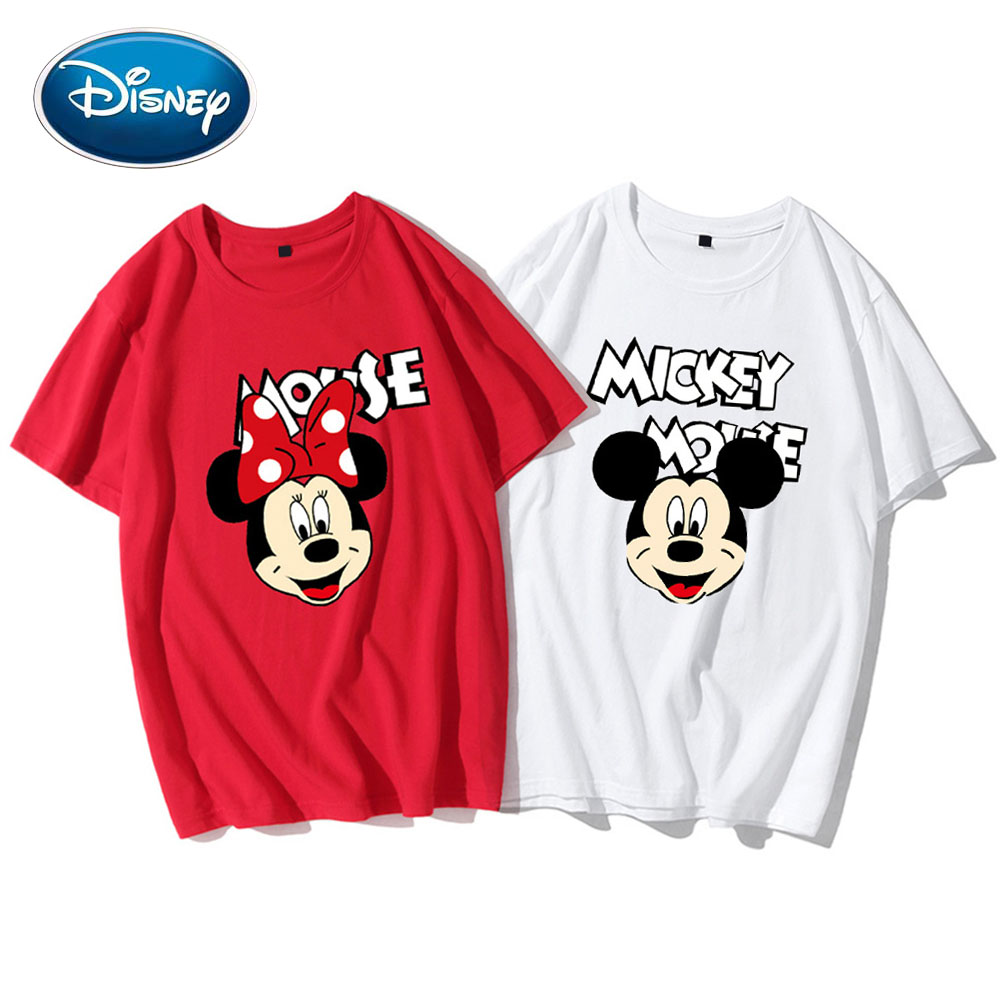 Disney Cute Mickey Minnie Mouse Cartoon Letter Print Couples Unisex Women T-Shirt O-Neck Pullover Short Sleeve Tee Tops 5 Colors