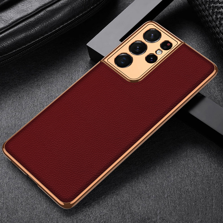 Luury Electroplate Leather Case For Samsung Galay S21 Ultra S21 Plus 5G Cover Soft Frame Hard Protective Case For Galay S21