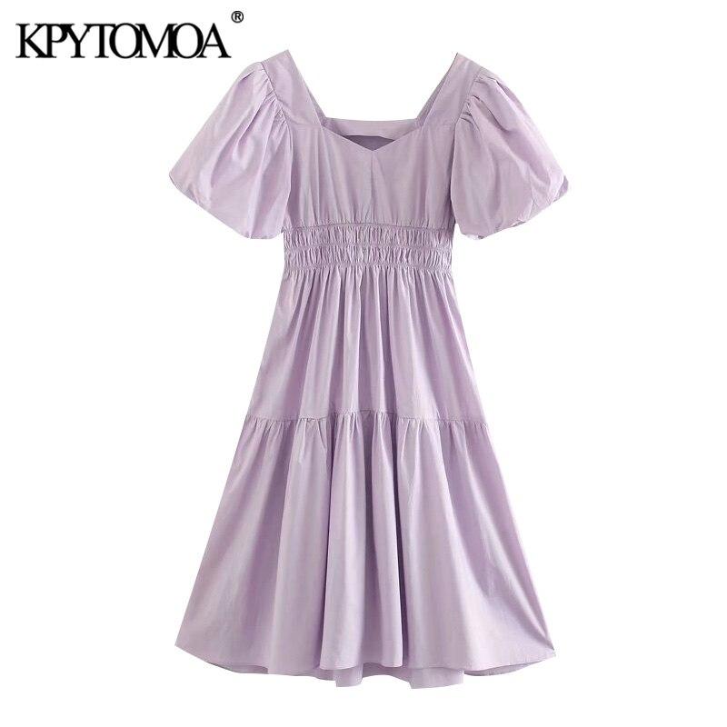 KPYTOMOA Women 2020 Chic Fashion Pleated Midi Dress Vintage Square Collar Puff Sleeves Female Dresses Vestidos Mujer