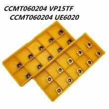 10 шт. карбидные вставки CCMT060204 VP15TF CCMT060204 UE6020 внутренний круглый фрезерный инструмент с ЧПУ лезвие токарный станок Инструменты CCMT 060204 фрезерный инструмент