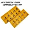 10 шт. карбид Вставки CCMT060204 VP15TF CCMT060204 UE6020 внутренний круглый фрезерный инструмент CNC лезвие токарный станок Инструменты CCMT 060204 фрезерный инс...