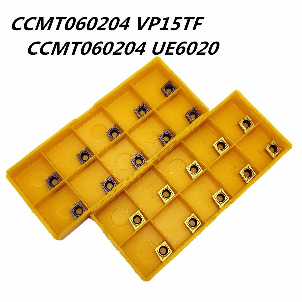 10 Uds. Inserto de carburo CCMT060204 VP15TF CCMT060204 UE6020 herramienta de fresado redonda interna CNC herramientas de torno de cuchillas CCMT 060204 herramienta de fresado