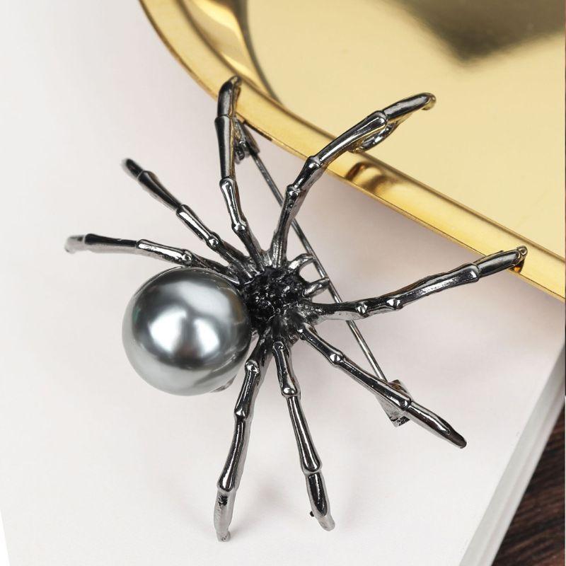 Mãe vitoriana de corpo pérola e micro pave broches aranha pinos jóias femininas