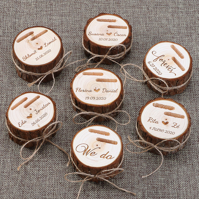 Custom Ring Box Personalized Wedding Valentines Engagement Wooden Ring Bearer Box Jewelry Boxes Ring Box