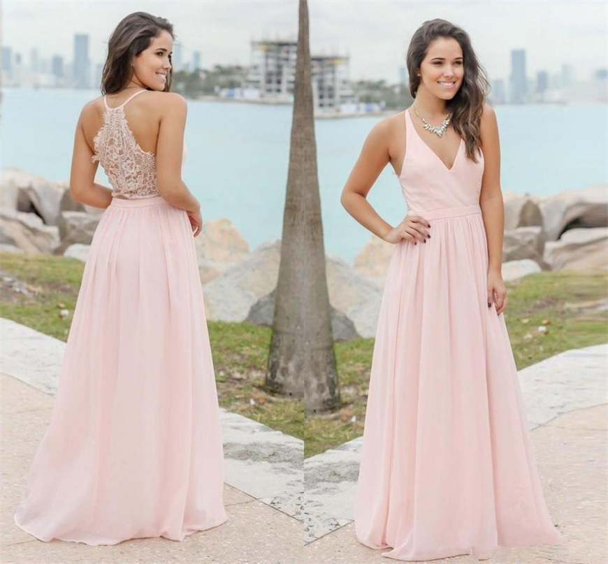 Elegant Pink Chiffon Country Bridesmaid Dresses Summer Beach Formal Maid Of Honor Gowns Custom Made Cheap Wedding Guest Gowns