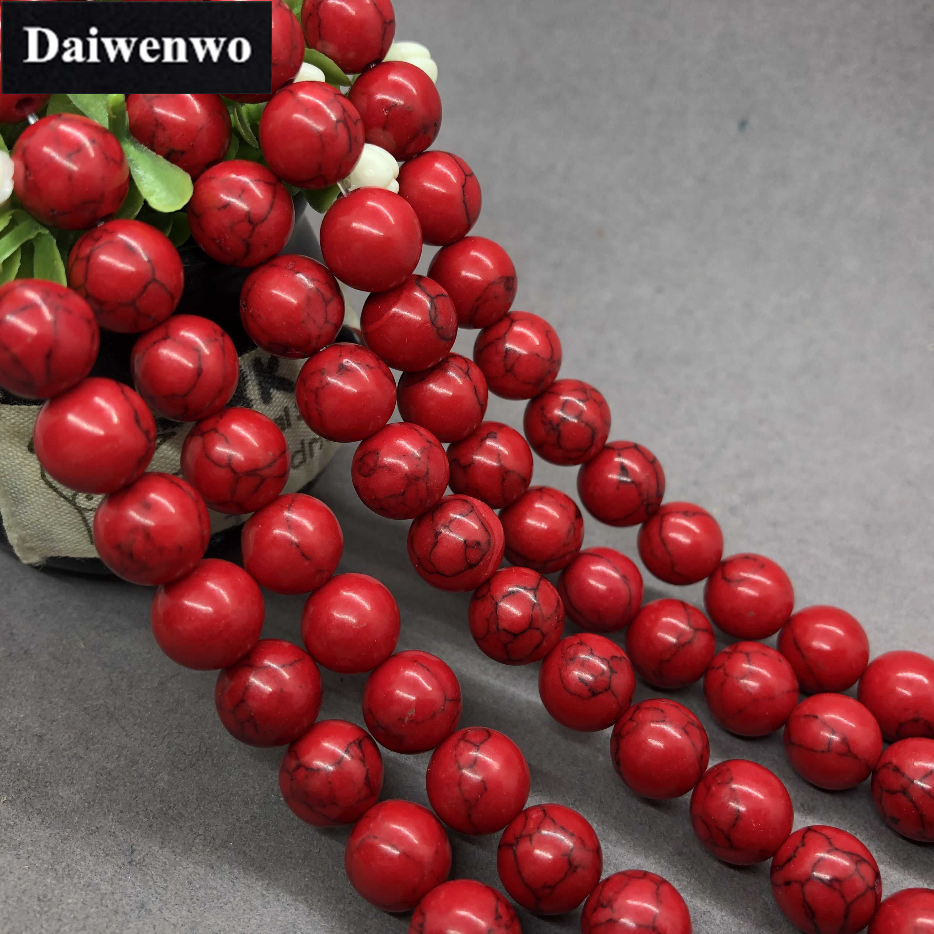 Rosso Turchese Perline 4-12mm Rotonda Naturale di Pietra Allentati del Branello di Diy Dei Monili Del Braccialetto