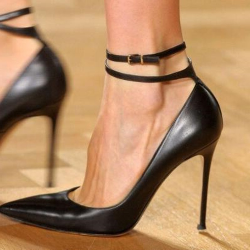 Sexy Black Matte Leather High Heel Shoes Double Ankle Strap Pointed Toe Shallow Dress Shoes Low Cut Party Heel Banquet Shoes