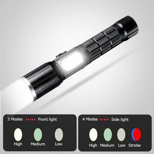 Image 2 - Haute puissance rechargeable T6 led 18650 lampe de poche tactique lintern usb ultraviolets lampes de poche mécaniques Flashlight
