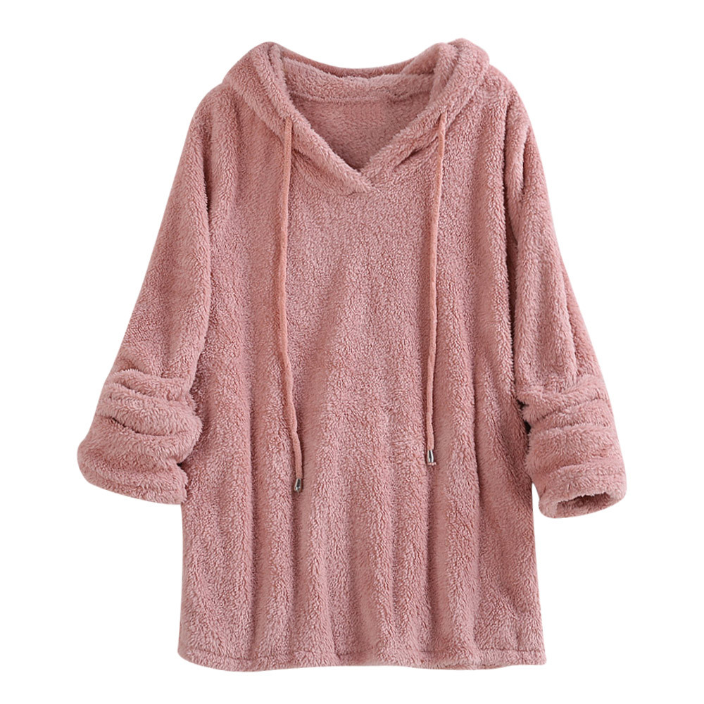 JAYCOSIN Fashion Ladies Long-sleeved Soft Plush Pullover Sweatshirt Solid Color Warm Casual Hooded Sweatshirt Autumn Winter
