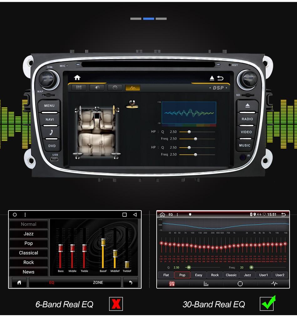 Eunavi 2 din Android 9.0 Radio samochodowe DVD Multimedia GPS dla FORD Focus Mondeo S-MAX C-MAX Galaxy 4G 64G IPS DSP TDA7803A jednostka główna