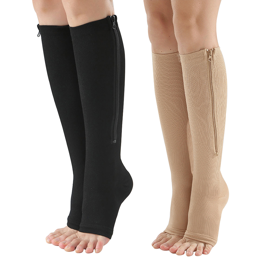 New Zip-Up Crew Socks Compression Leg Support Knee High Socks Firm Pressure Circulation Orthopedic Support Stockings Fast Sent