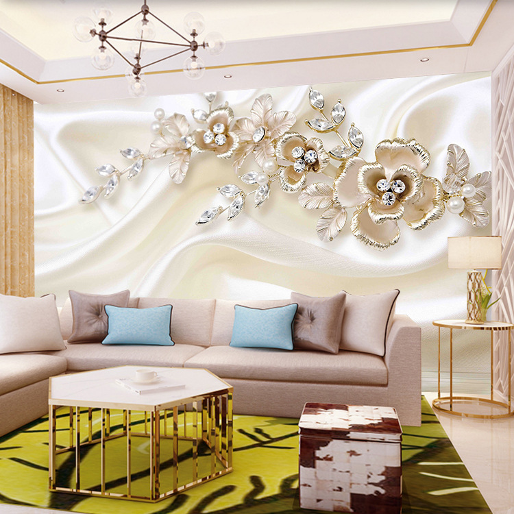 Living Room Television Background Wall Wallpaper TV Wall 3D Seamless Wall Cloth Wallpaper Large Mural Jewelry Flower Wall Cloth