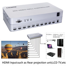 1080P HDMI Video Wall Controller 3×3 HD LCD TV wall Processor 1×9 Hdmi Connector RS232 Control For HDTV audio video Display