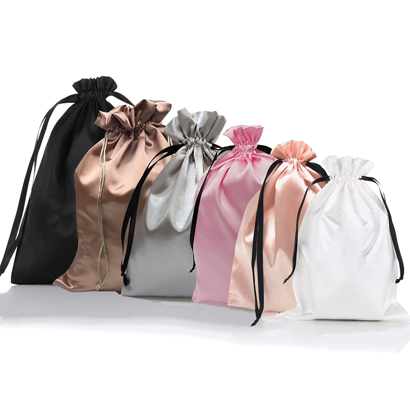 Sacs cadeaux en Satin de soie avec cordon de serrage avec Logo personnalisé, cheveux vierges, maquillage, sac d'emballage pour bijoux, pochette en soie noir blanc argenté rose