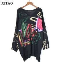 XITAO вязаный свитер с буквенным узором, Женская мода, Осенний элегантный свитер с v-образным вырезом, необычный маленький свежий Повседневный свитер, топ, gcc1985