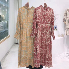 2020 spring floral printing chiffon dress women long sleeve midi dress korean clothes lace-up waist back zipper