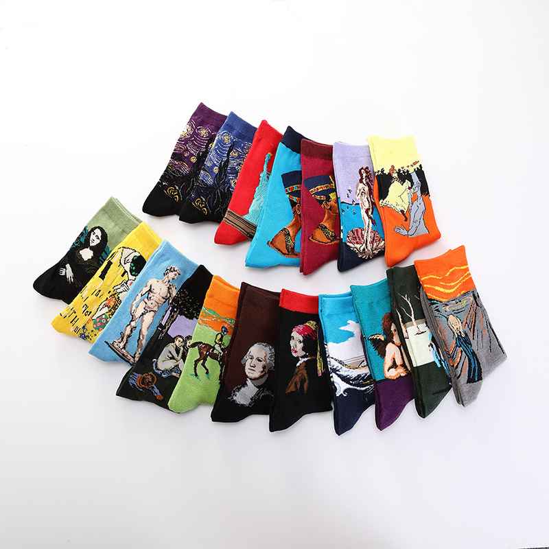 Classic Fashion Vintage Oil Painting Art Socks Women Modern Fun Van Gogh Star Night Oil Painting Happy Women Socks Men Socks