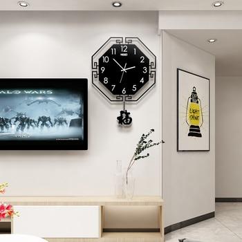Vintage 3D Digital Pendulum Wall Clock 3D Modern Design Large Hanging Watch Metal Pointer Quartz Black/Red Clock Free Shipping