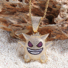 Hip Hop Fashion Style Gengar Retro Pokemon Pendant Necklace Cubic Zircon Necklace Ice Out Chain Men's Trend Jewelry Necklace(China)
