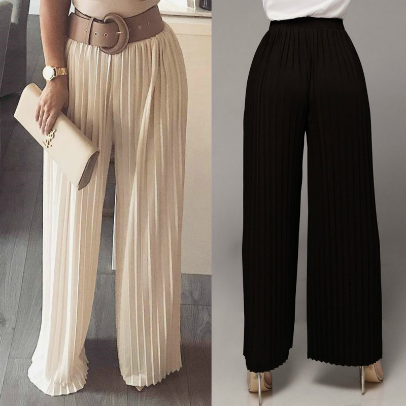 Sexy Wrinkle Loose Comfortable Casual Trousers Full Length Casual Loose Elastic Waist Pleated Solid Mid Waist   Wide     Leg     Pants