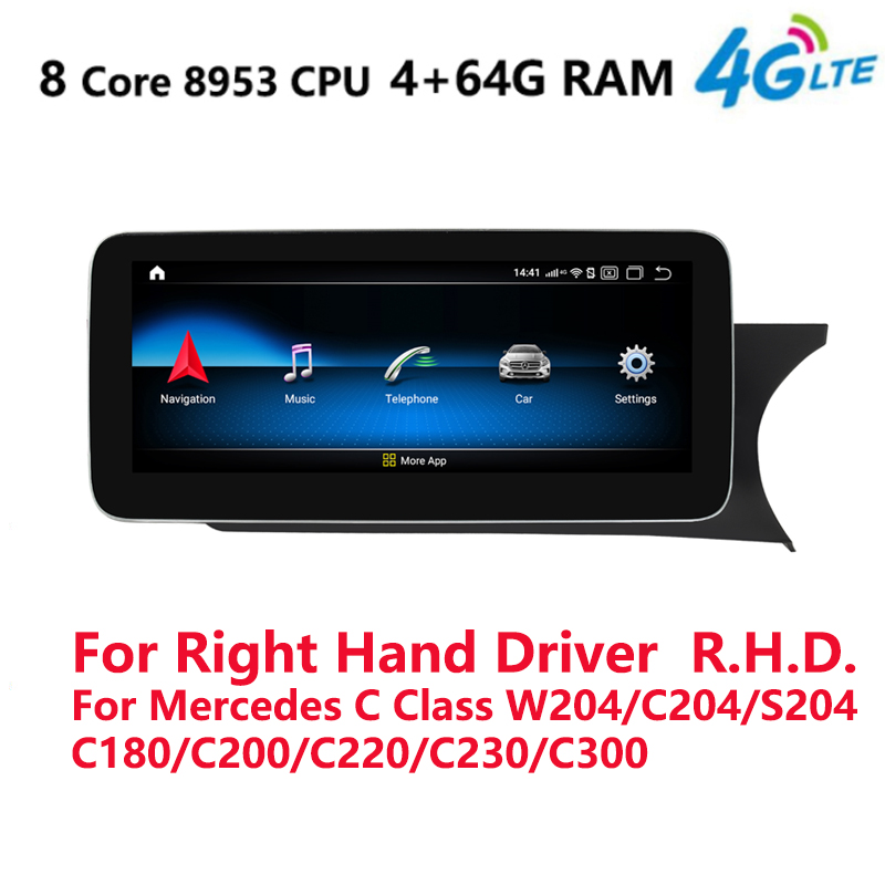 4G LTE 4G+64G Android 10.0 Car multimedia player <font><b>radio</b></font> <font><b>GPS</b></font> Navi For Mercedes C Class <font><b>W204</b></font> C180 C200 C220 C230 Right Hand Drive image