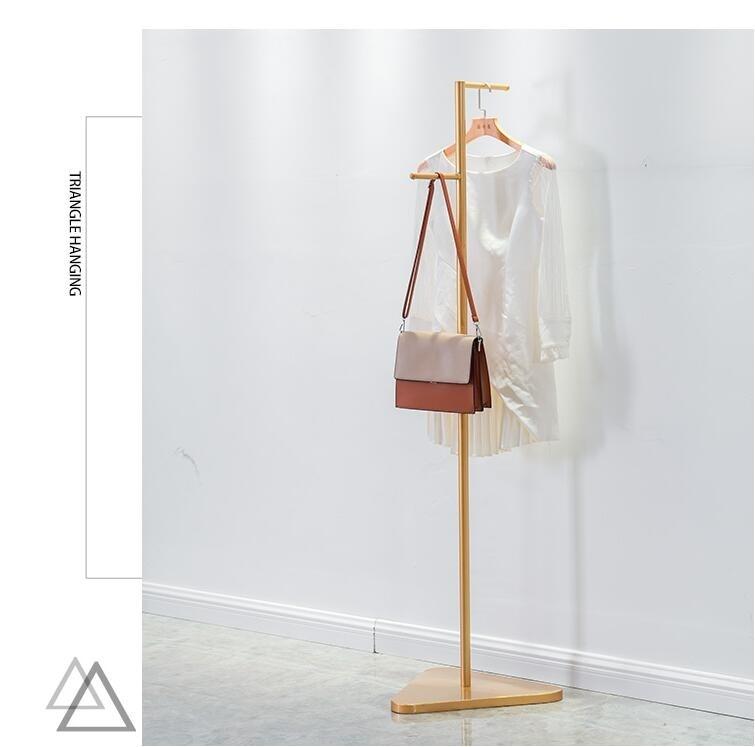 Simple clothing store display rack gold clothing rack floor type hanger women's clothing store bag rack