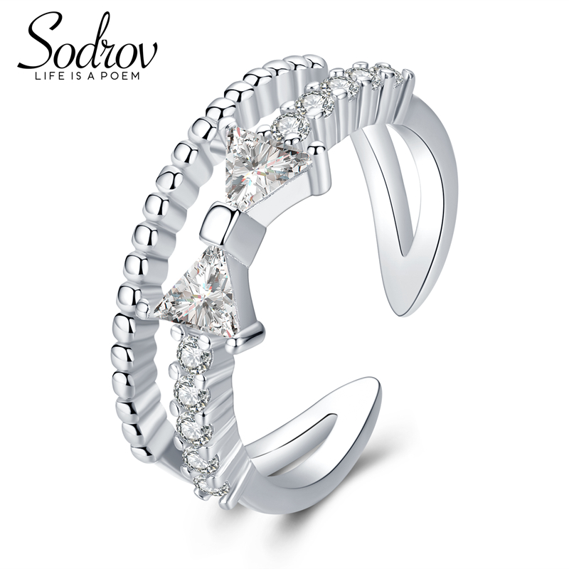 Sodrov Engagement Ring Jewelry 925 Sterling Silver Stone For Women Zircon Wedding Bands Triangle