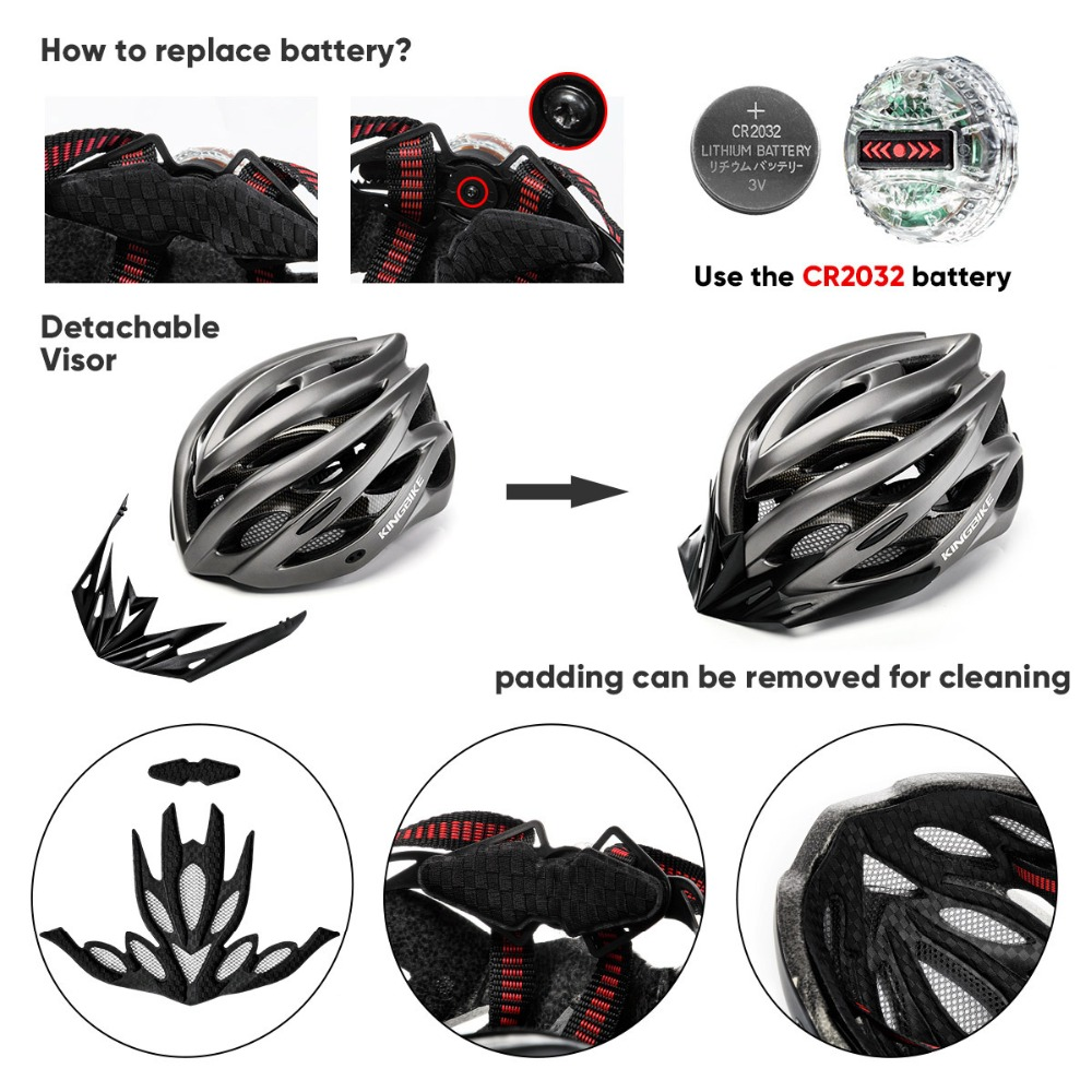 KINGBIKE Bicycle Helmet MTB Black Titanium Stripe Cycling Helmet Road Mountain With Sun visor taillight Men Women Bike Helmet   3