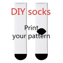 Chaussettes longues personnalisées avec Logo imprimé en 3D pour hommes et femmes, à la mode, avec personnage de paysage, décontracté, hiver, chaussettes chaudes pour mollets, cadeau