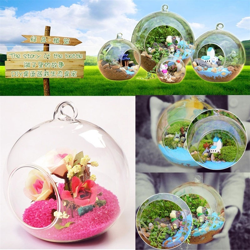 2017 Creative Hanging Glass Ball Vase Flower Plant Pot Terrarium Container Home Office Decor Hanging Glass Vase UD88