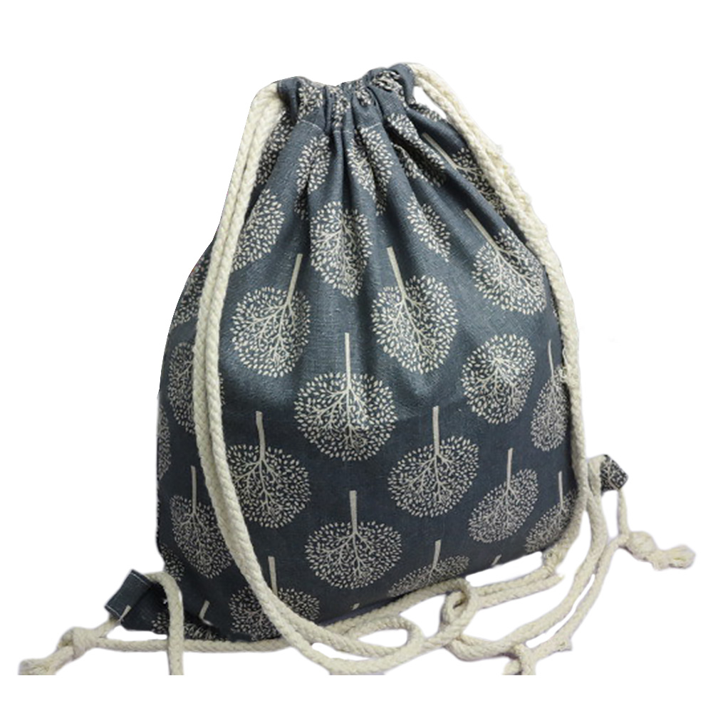 4pcs Portable Fashion Large Capacity Tree Printed Wear Resistant Practical Foldable Storage Bag Drawstring Home Cotton Linen