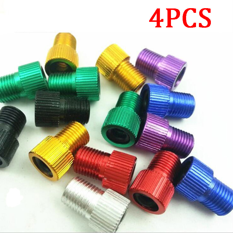 4PCS Aluminum Alloy Bike Valve Adapter Caps Bicycle Air Nozzle Air Pump Road Racing Bike Inner Tube Tools Bicycle Accessories