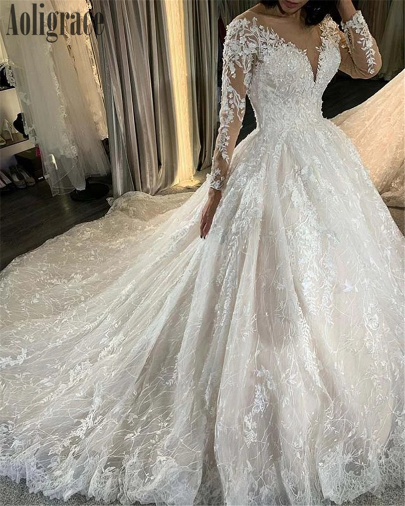 Princess Ball Gown Wedding Dresses Sheer Neck Full Lace Illusion Full Sleeves Long Train Bridal Gowns Church Vestidoe De Noiva Buy At The Price Of 259 00 In Aliexpress Com Imall Com