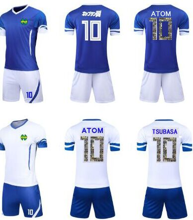 Asia Sizes Kids Men ,Camiseta ATOM Maillots De Foot Enfant Hot Spain France Japan Kit Oliver Atom Captain Tsubasa Jerseys