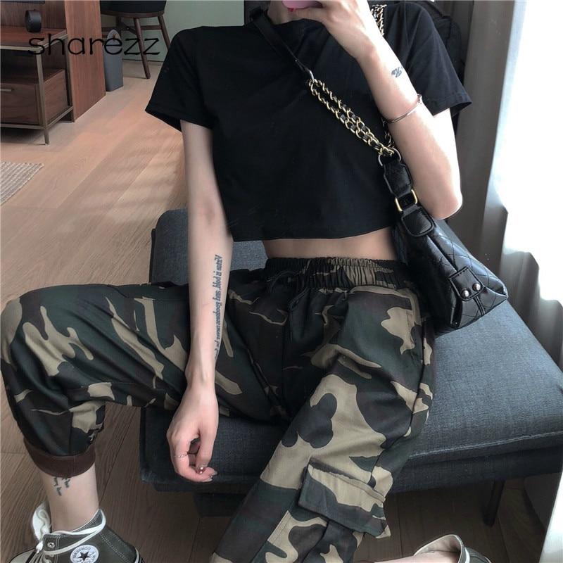 New Joggers Women Camo Cargo High Waist Hip Hop Trousers   Pants   Drawstring Military Army Combat Camouflage Long   Pants   Hot   Capris