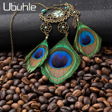 цена на Natural Peacock Feather Tassel Pendant Necklaces for Women Vintage Ethnic Long Sweater Chain Necklace Charm Jewelry Accessories