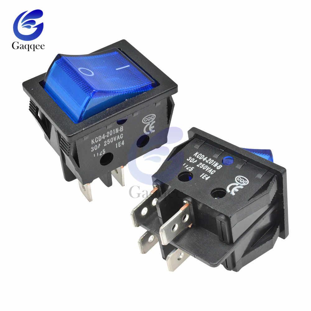 KCD4 Rocker Schalter Taste AUF OFF 2 Position 4 Pins Elektrische Ausrüstung Mit Licht Power Switch Silber Kontaktieren 30A/ 250V