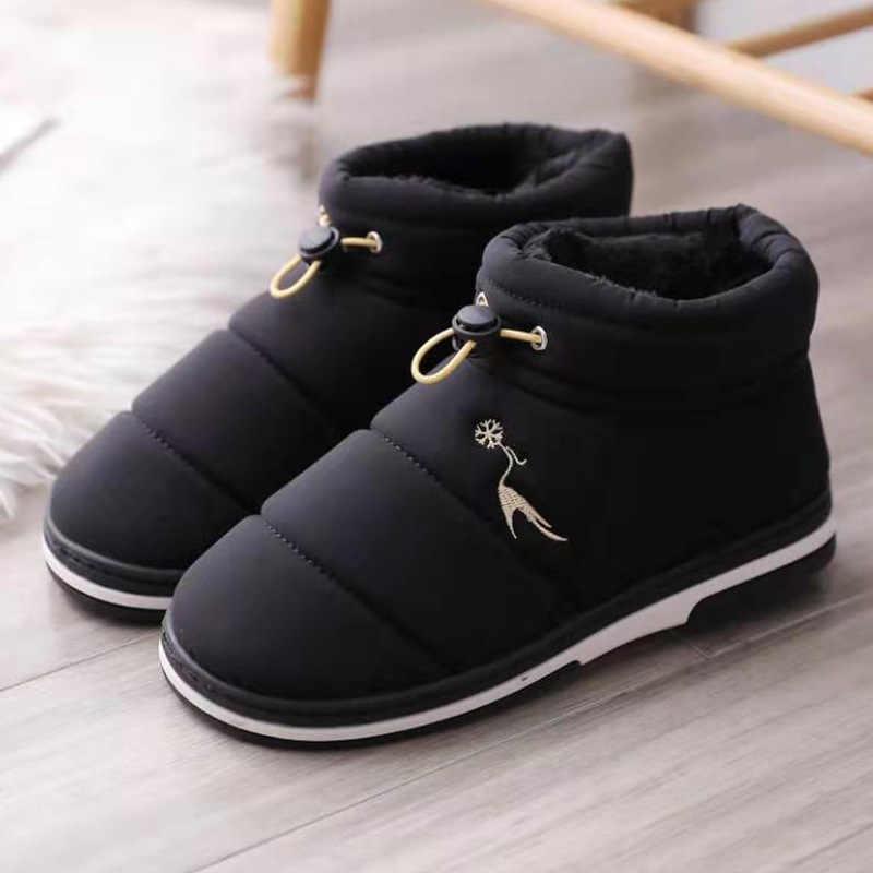 Kış kar botları kadın su geçirmez yarım çizmeler peluş kapalı ayakkabı sıcak bayanlar platformu çizmeler kürk üzerinde kayma Botas Mujer artı boyutu