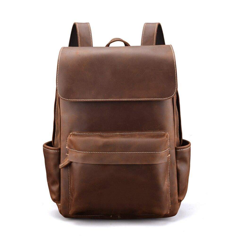 100% en cuir véritable hommes sac à dos Vintage en cuir véritable naturel étudiant sac à dos fou cheval peau ordinateur pochette d'ordinateur 14 pouces nouveau