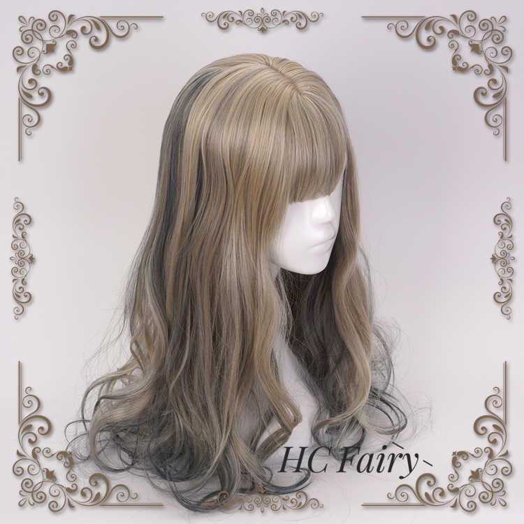 Сладкий парик Лолита смешанный цвет золотой смешанный темно-синий синтетический волос Хэллоуин косплей костюм милый парик для женщин девушки вечерние Cos